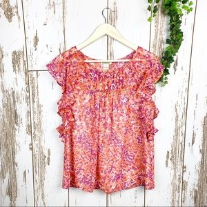 Lucky Brand NWT Peachy Pink Floral Flutter Tank